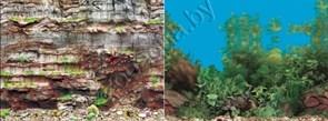 Фон для аквариума Камень скал стена/Камень с растениями В60 2ст 9035/9031