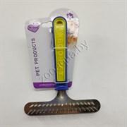 Расческа-грабли желто-синяя ручка 2 ряда зубьев ( 15.5*11 )