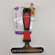 Расческа-грабли черно-красная ручка 1 ряд зубьев (15.5*11)