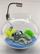 Аквариум круглый Aqua на 10 л. готовый комплект с декором машина
