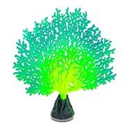 Флуоресцентная аквариумная декорация GLOXY Коралл веерный зеленый, 13,5х3х16см