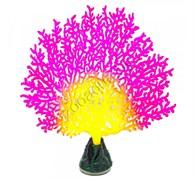Флуоресцентная аквариумная декорация GLOXY Коралл веерный розовый, 13,5х3х16см