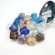 Glass 014  Марблсы в сетке МИКС звздочки 17-19мм 200гр