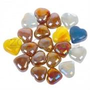 Glass 013 Марблсы в сетке МИКС сердечки 17-19мм 200гр