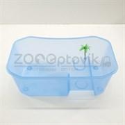 Черепашатник открытый пластиковый прозрачный с островом 40х24,5х13см