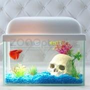 Аквариум AquaGold прямоугольник 5 л. (белый)  готовый комплект c рыбкой петушок и декором
